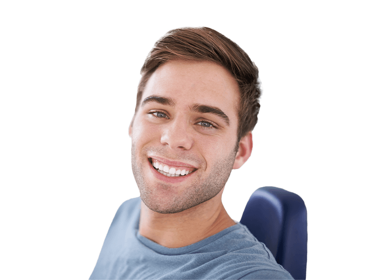 Man with healthy smile in dental chair